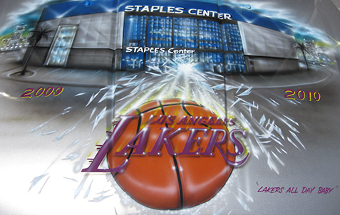 Sports airbrush mural artwork by Parker Airbrush