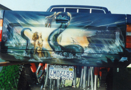 custom airbrush mural art on back of pickup truck