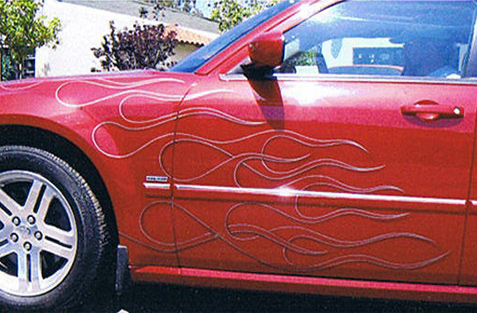 small car with airbrush graphics flame paint job