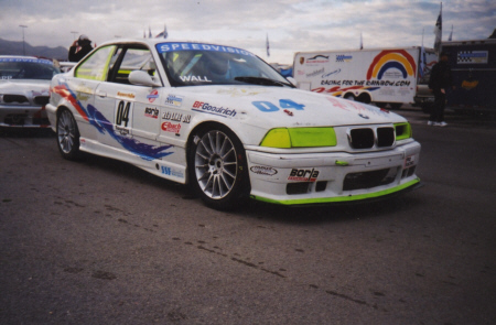 BMW race car with custom airbrush graphics